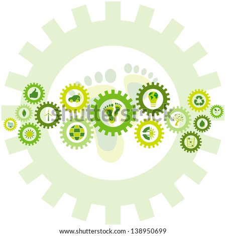 Chain of gear wheels filled with bio, eco and environmental icons and symbols placed in a background of the environmental footprint - stock photo