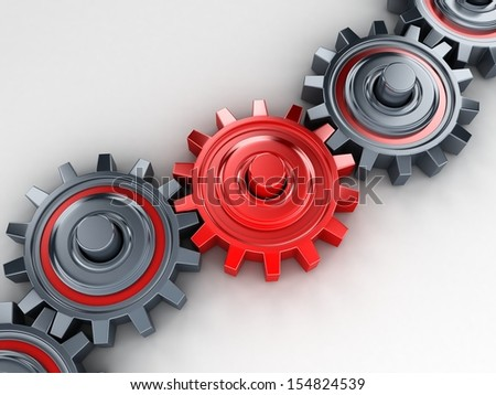 chain of gears (done in 3d) - stock photo