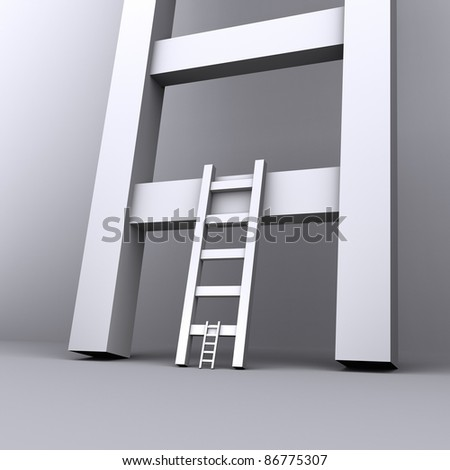 chain of ladders of different sizes - stock photo