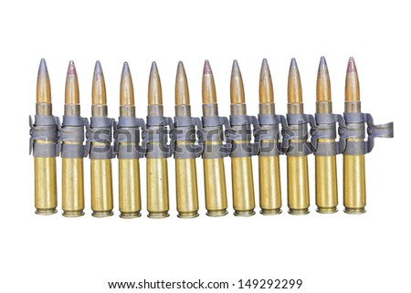 chain of 7.2 mm bullet isolated on white background with clipping path - stock photo