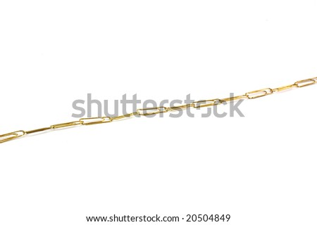 chain of paper clips isolated on white - stock photo