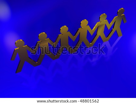 chain of paper men linked together ideal as a business concept - stock photo