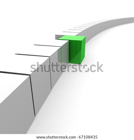 chain of white cubes among them one green cube. 3D computer rendering - stock photo