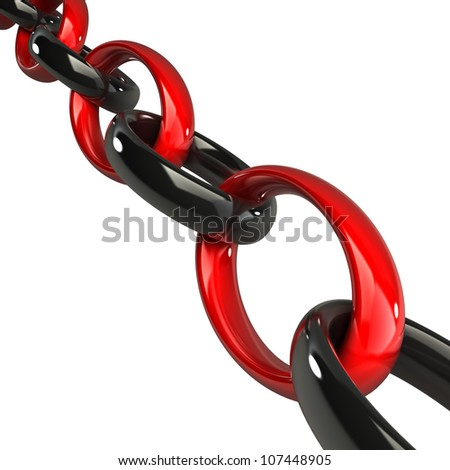 Chain red and black 3d - stock photo