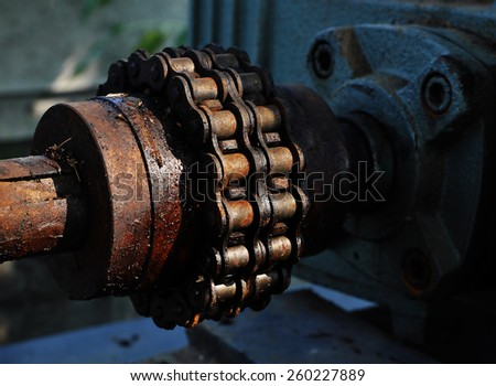 Chain rusty motor - stock photo