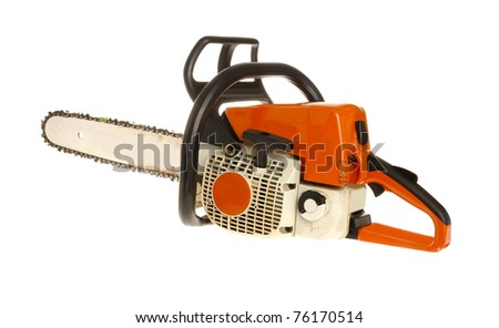 Chain Saw Isolated on White  (used)