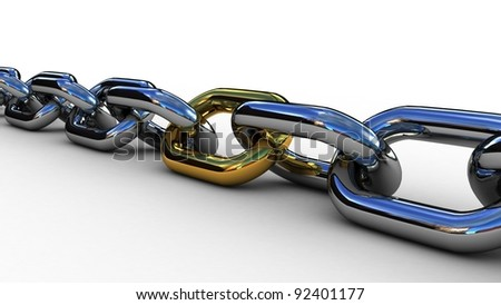 Chain with a gold link, 3D - stock photo