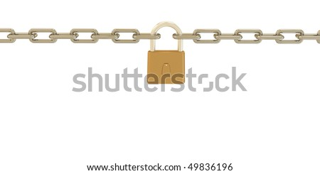 chain with a lock - stock photo