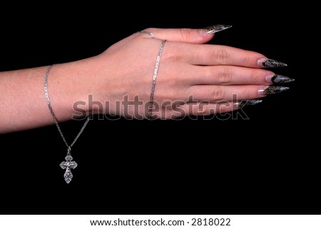 chain with cross wound on girls hand