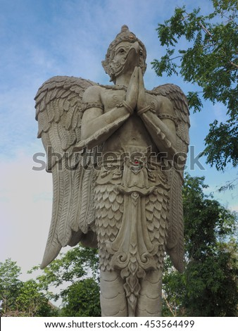 CHAINART,THAILAND - July 3 : Masterpiece of traditional Thai Garuda, stucco of  The Garuda Body at Wat PaJeDeeKhaoDin on July 3, 2016 in Chainart, Thailand