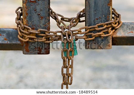 Chained and Locked - stock photo