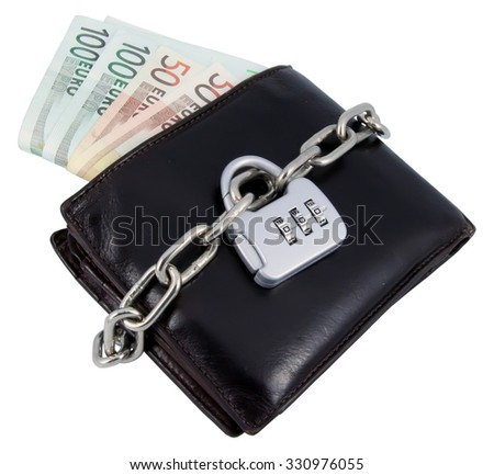 Chained brown leather wallet. Secured finances. Money in brown leather wallet. - stock photo
