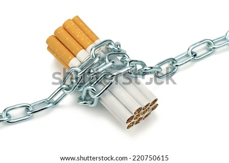 Chained cigarettes. Conceptual image. - stock photo