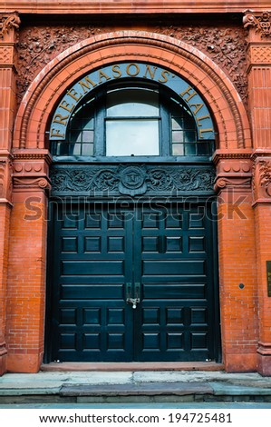 chained door to savannah's cotton market - stock photo
