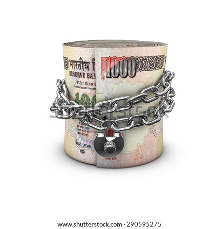 Chained money roll rupees, 3D render of locked chain around rolled up thousand rupee notes - stock photo