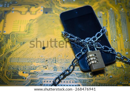 chained smartphone - data protection concept - stock photo