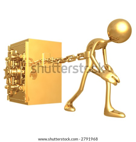 Chained To Bank Vault - stock photo