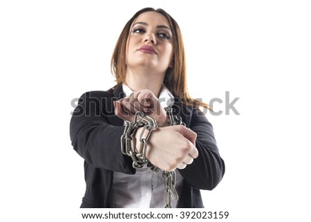 Chained up business woman isolated on white background  - stock photo