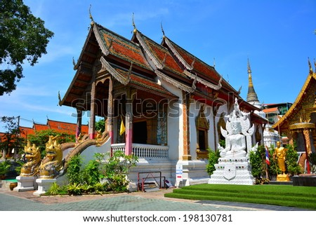 CHAING MAI, THAILAND - MAY 11, 2014 : Wat Tung Yu is a small Buddhist monastery near Wat Phra Singh, in the old city of Chiang Mai. It is small, but contains a lot of interesting art and architecture - stock photo