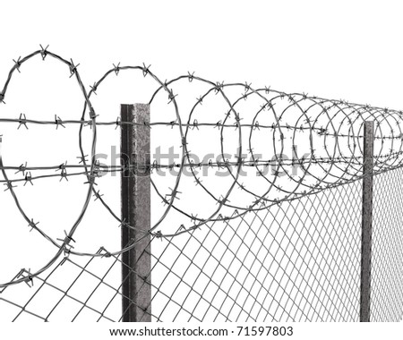 Chainlink fence with barbed wire on top closeup isolated on white background - stock photo