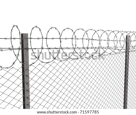 Chainlink fence with barbed wire on top  isolated on white background - stock photo