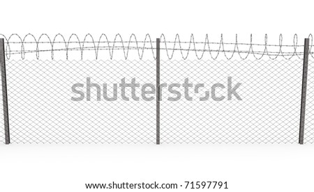Chainlink fence with barbed wire on top  isolated on white background, front view - stock photo