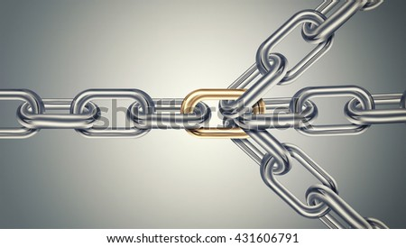 Chains are connected by golden link on a light background, connected group concept image, leadership concept, teamwork concept 3D design