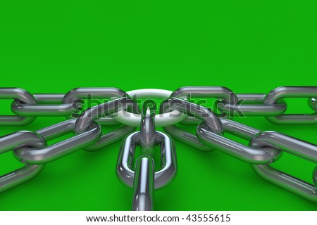 Chains on green background in 3d - stock photo