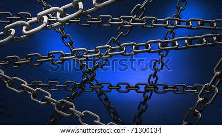 chains on the blue background 3d abstract - stock photo