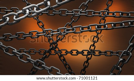 chains on the orange background 3d - stock photo