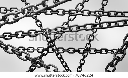 chains on the white background 3d abstract - stock photo
