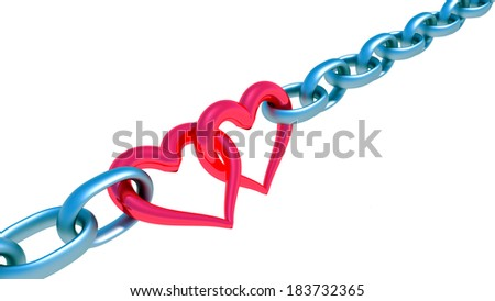 Chains with red heart - stock photo