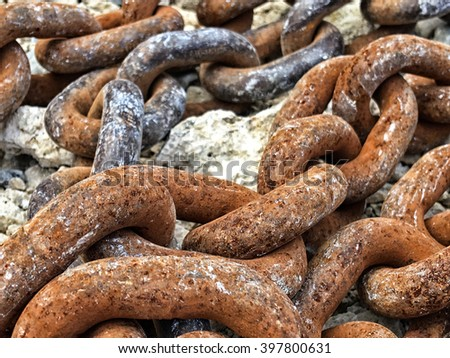 Chains with rust. - stock photo