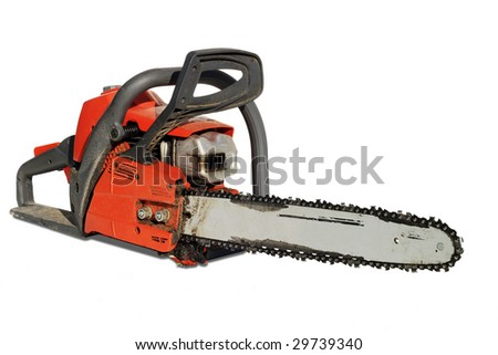 chainsaw after working isolated on white