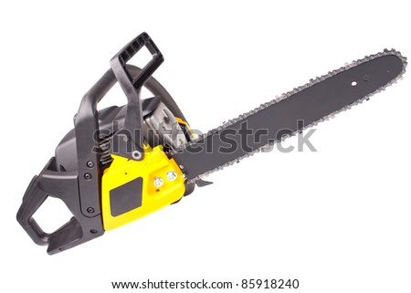 chainsaw. close-up. white background.