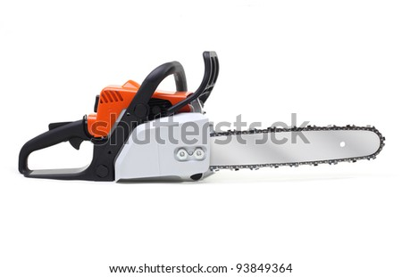 chainsaw isolated on white - stock photo