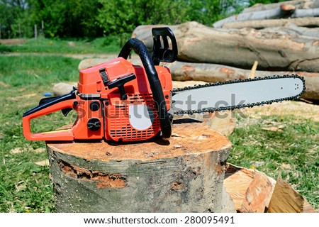 Chainsaw on preparation of fire wood