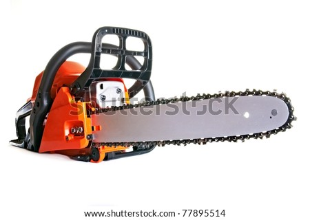 chainsaw - professional petrol chain saw - stock photo