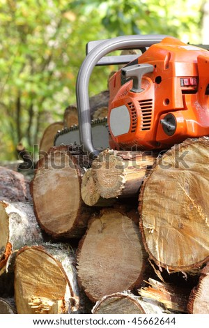chainsaw ready to work - stock photo