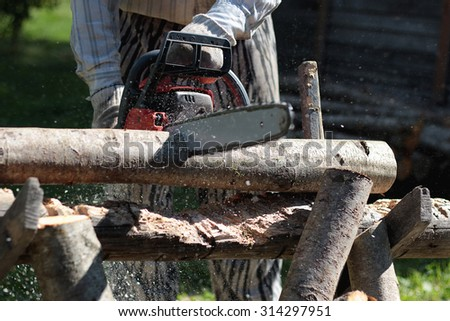 chainsaw to cut firewood