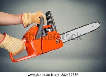 Chainsaw, Tree, Cutting. - stock photo