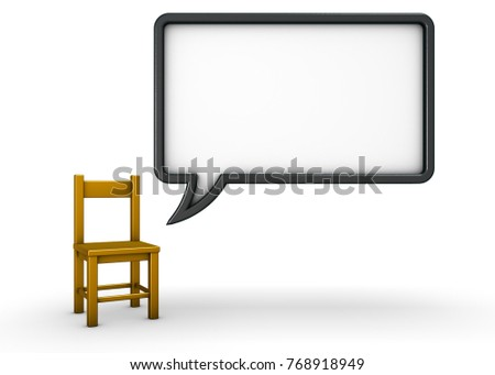 chair and speech bubble on white background 3d rendering