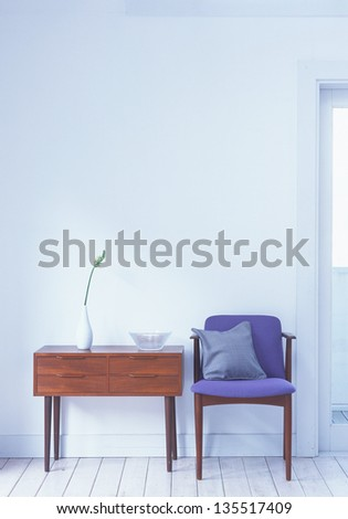 chair and table, interior - stock photo