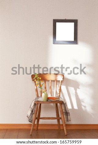 chair and wall - stock photo