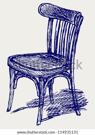 Chair classic. Doodle style. Raster version