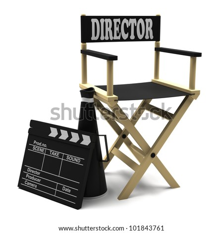 Chair director, movie clapper and megaphone on white background - stock photo