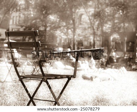 Chair for Resting in Bryant Park - stock photo