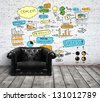 chair in loft with drawing concept on brick wall - stock photo