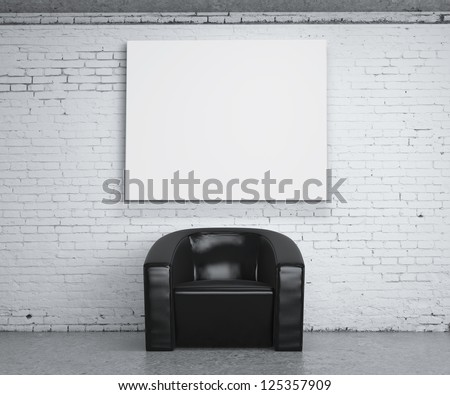 chair in room and poster on wall - stock photo