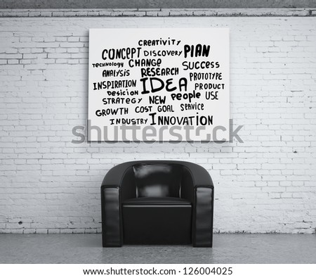 chair in room and poster with business tags - stock photo